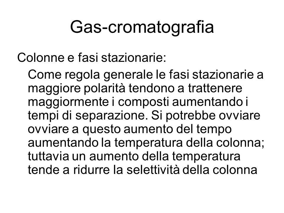 Gas-cromatografia Colonne e fasi stazionarie: