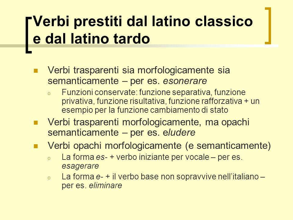 Verbi prestiti dal latino classico e dal latino tardo