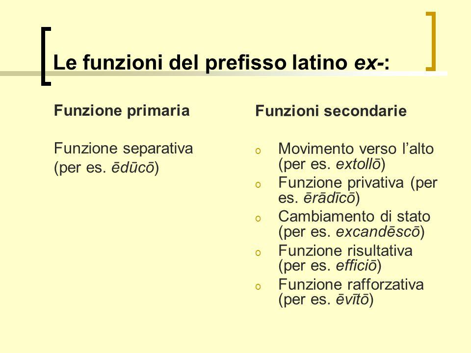 Le funzioni del prefisso latino ex-:
