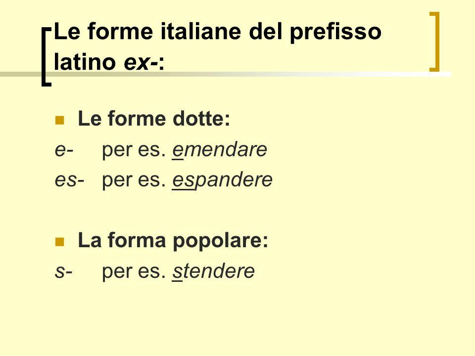 Le forme italiane del prefisso latino ex-: