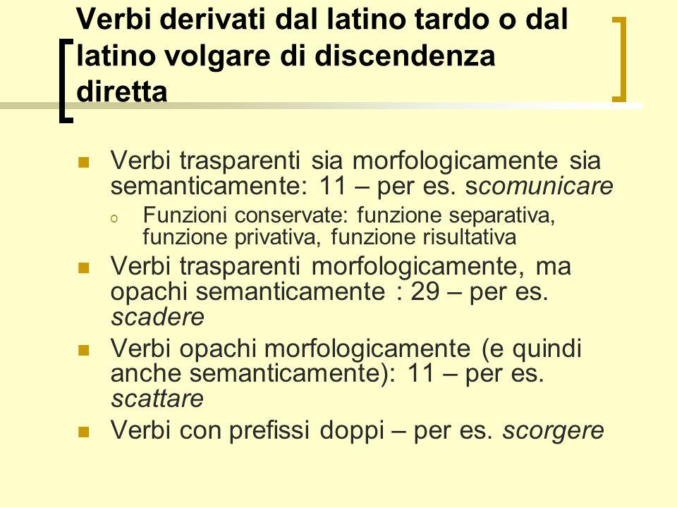 Verbi derivati dal latino tardo o dal latino volgare di discendenza diretta
