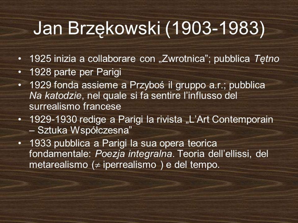 """Jan Brzękowski (1903-1983) 1925 inizia a collaborare con """"Zwrotnica ; pubblica Tętno. 1928 parte per Parigi."""