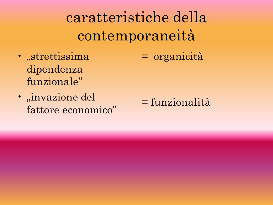 caratteristiche della contemporaneità