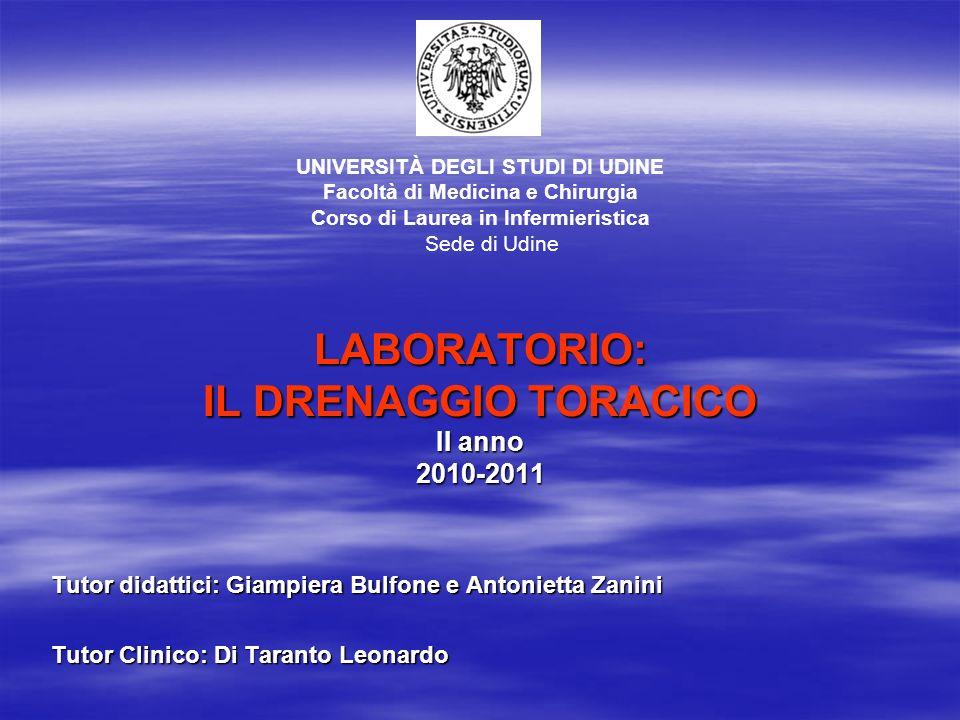 LABORATORIO: IL DRENAGGIO TORACICO II anno 2010-2011