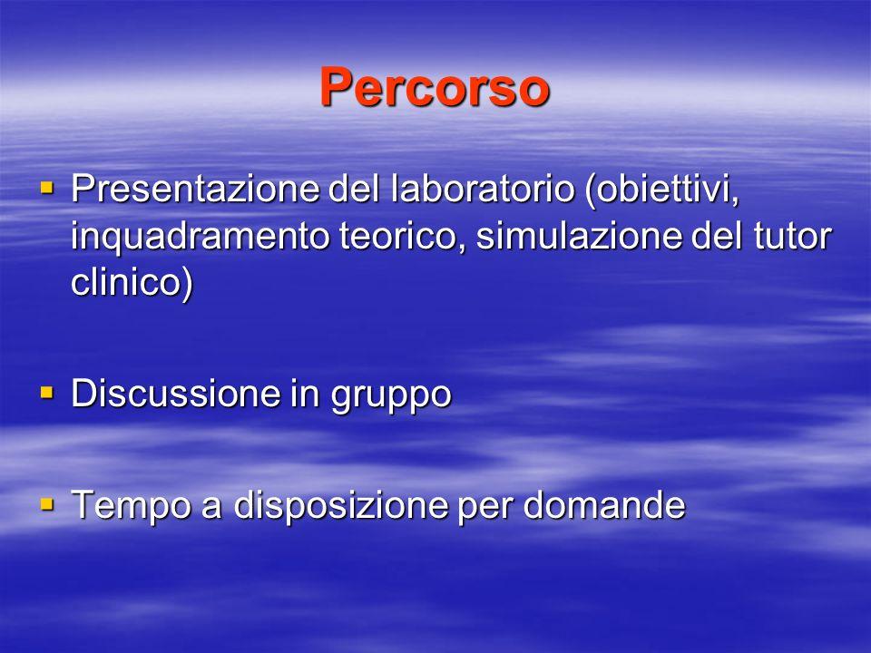 Percorso Presentazione del laboratorio (obiettivi, inquadramento teorico, simulazione del tutor clinico)