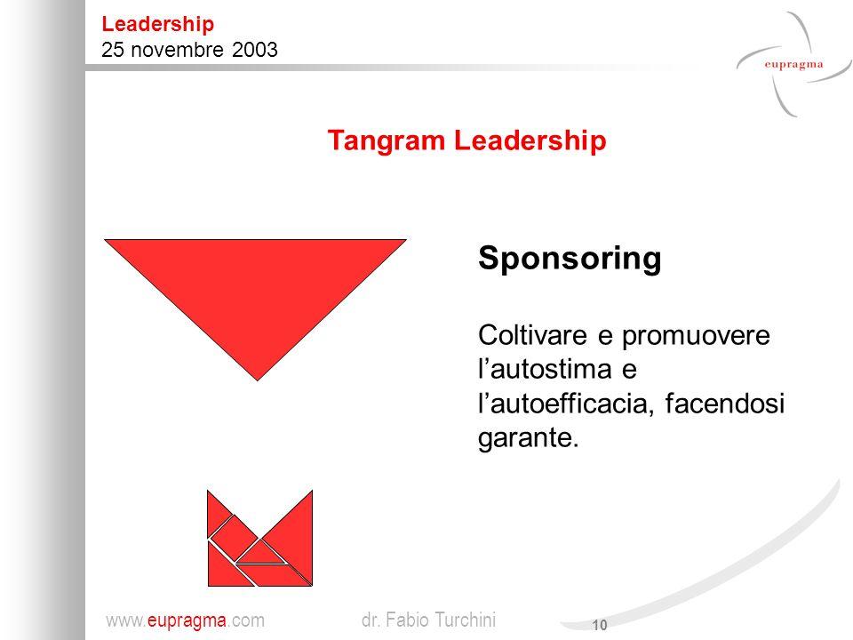 Sponsoring Tangram Leadership