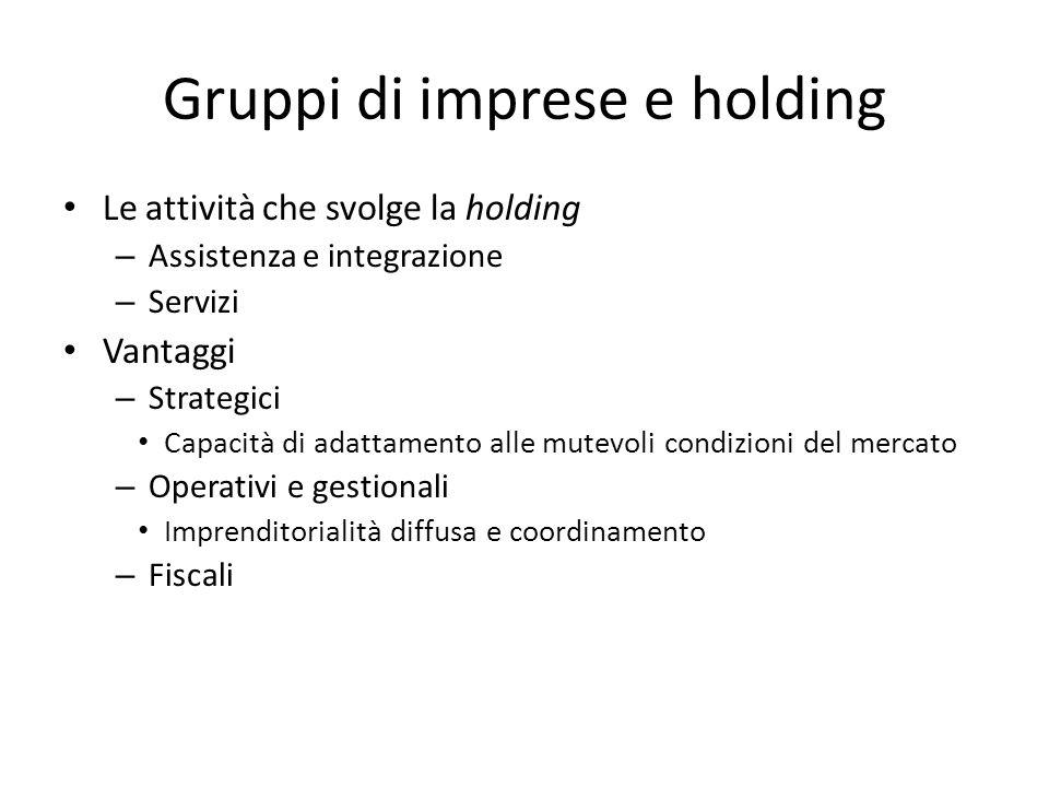 Gruppi di imprese e holding