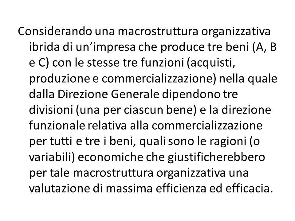 Considerando una macrostruttura organizzativa ibrida di un'impresa che produce tre beni (A, B e C) con le stesse tre funzioni (acquisti, produzione e commercializzazione) nella quale dalla Direzione Generale dipendono tre divisioni (una per ciascun bene) e la direzione funzionale relativa alla commercializzazione per tutti e tre i beni, quali sono le ragioni (o variabili) economiche che giustificherebbero per tale macrostruttura organizzativa una valutazione di massima efficienza ed efficacia.