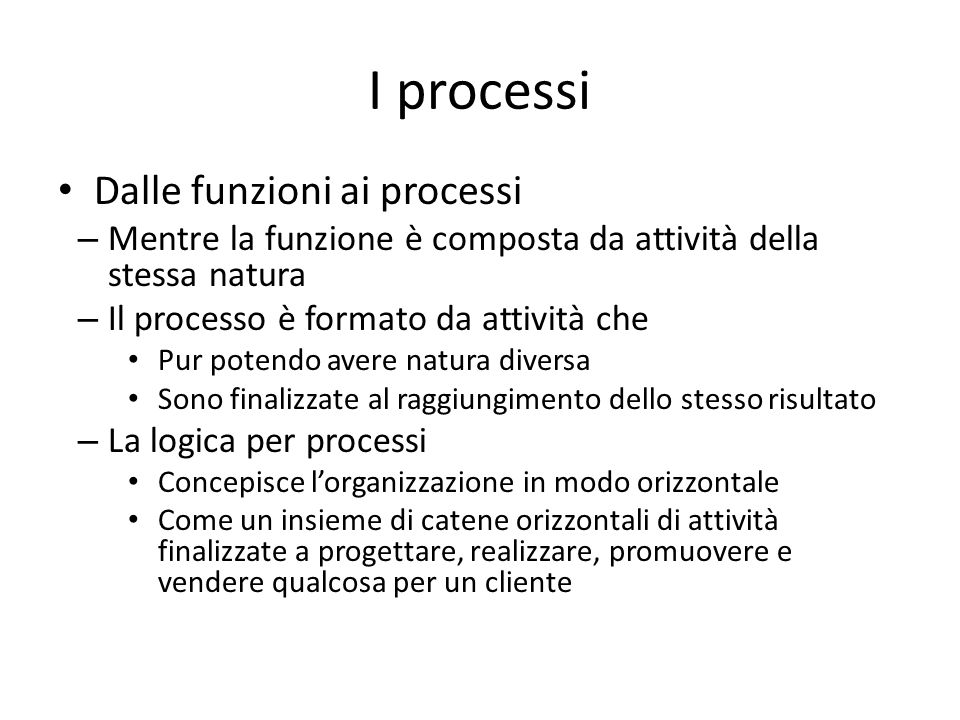 I processi Dalle funzioni ai processi