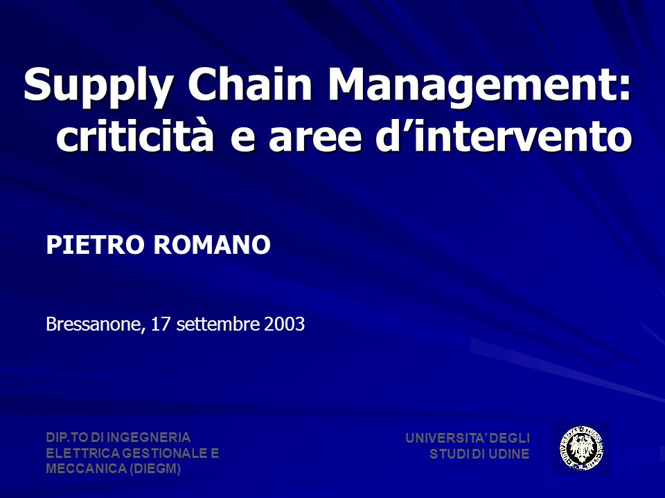 Supply Chain Management: criticità e aree d'intervento