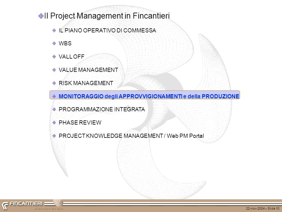 Il Project Management in Fincantieri