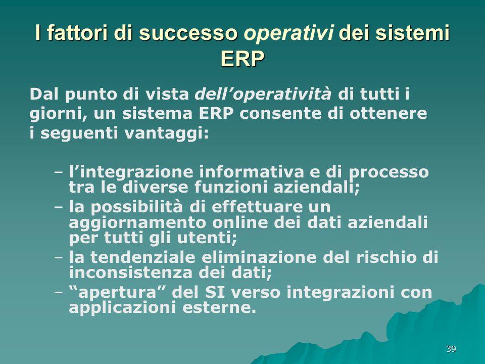 I fattori di successo operativi dei sistemi ERP