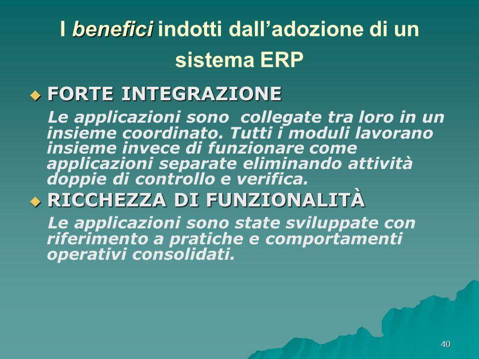 I benefici indotti dall'adozione di un sistema ERP