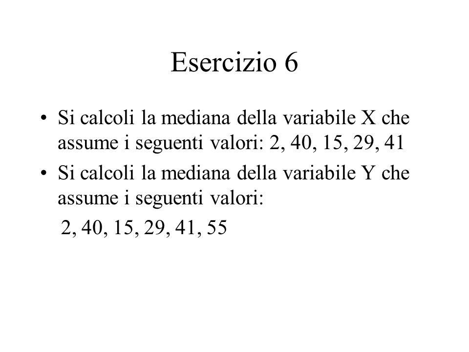 Esercizio 6 Si calcoli la mediana della variabile X che assume i seguenti valori: 2, 40, 15, 29, 41.