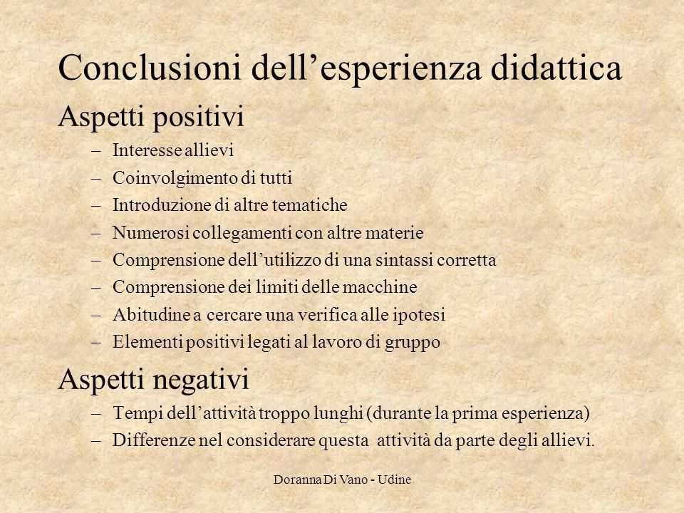 Conclusioni dell'esperienza didattica