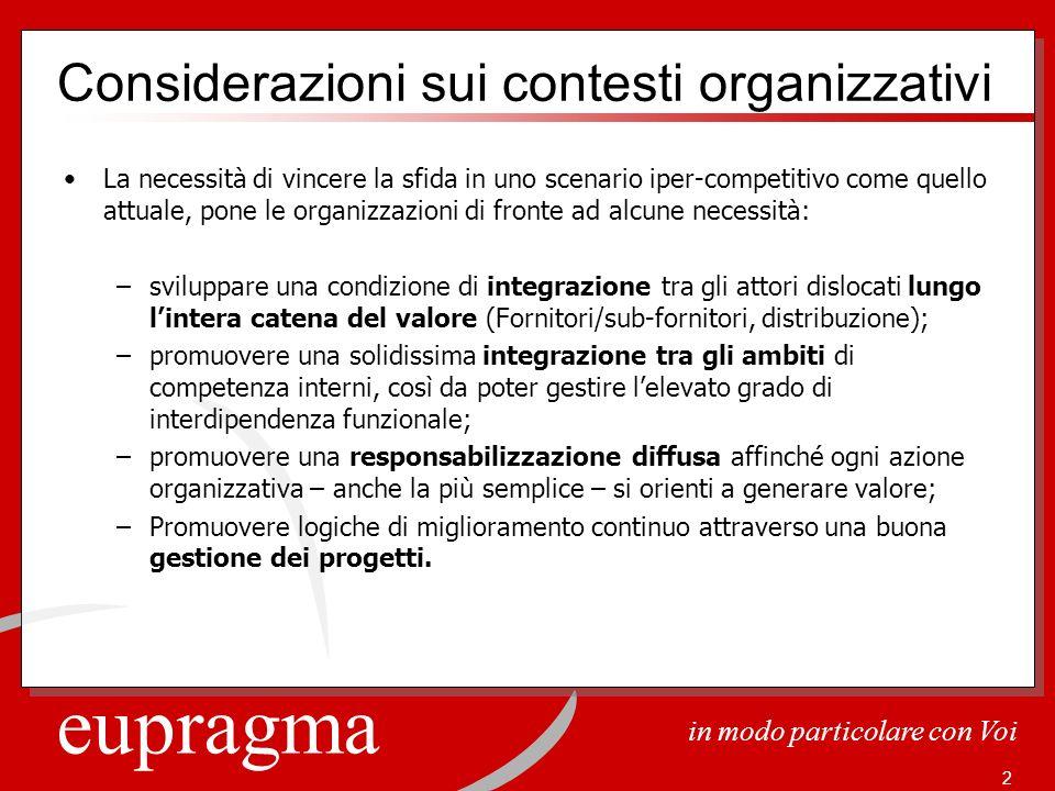 Considerazioni sui contesti organizzativi