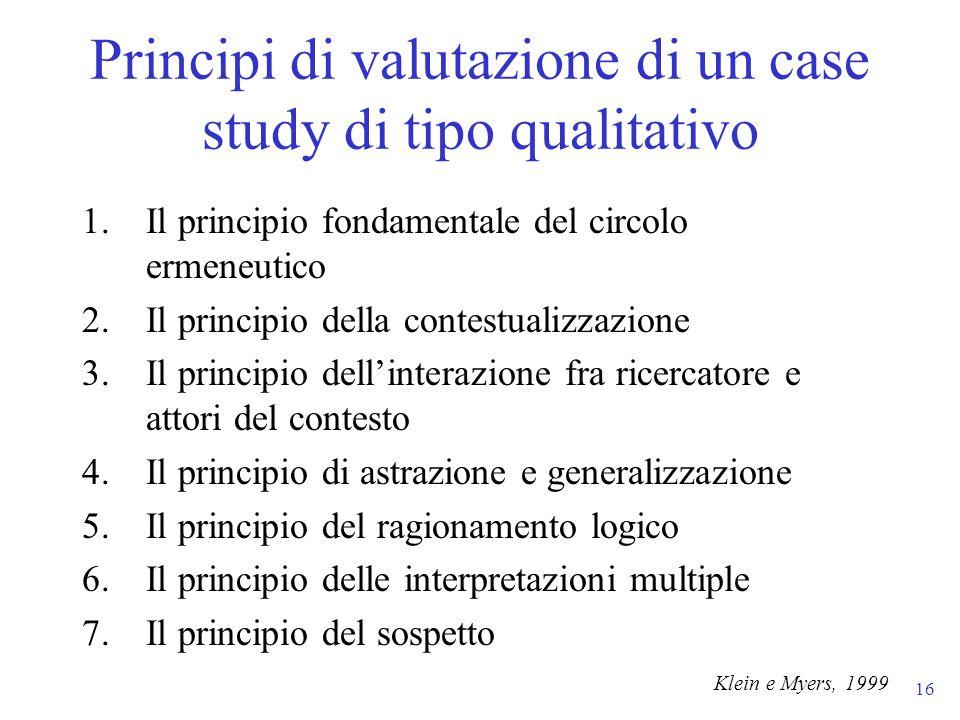 Principi di valutazione di un case study di tipo qualitativo