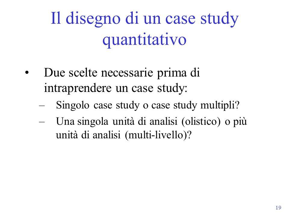 Il disegno di un case study quantitativo