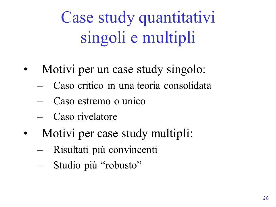 Case study quantitativi singoli e multipli