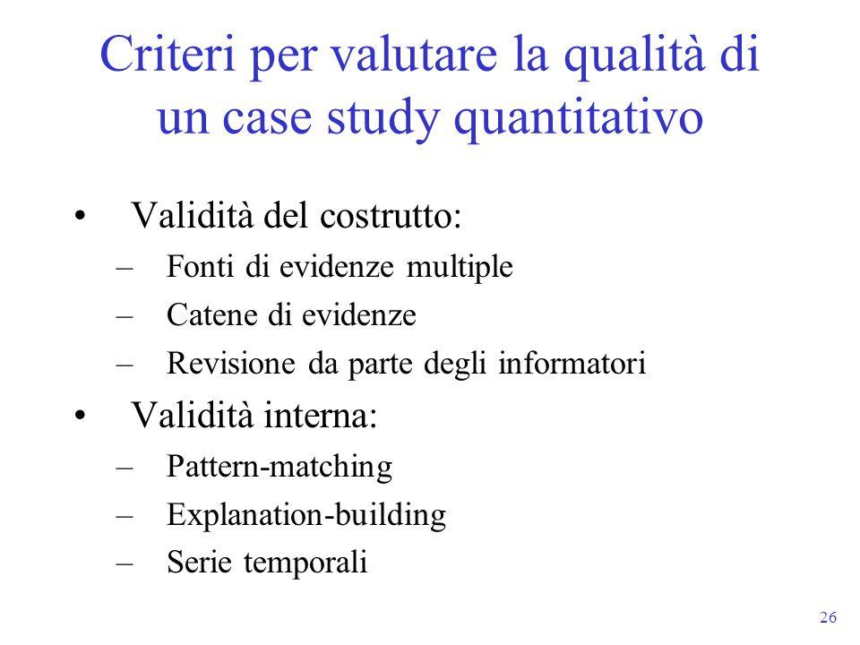 Criteri per valutare la qualità di un case study quantitativo