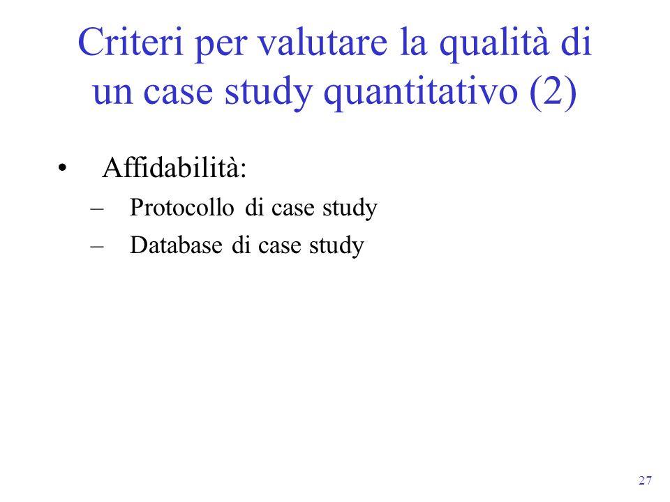 Criteri per valutare la qualità di un case study quantitativo (2)