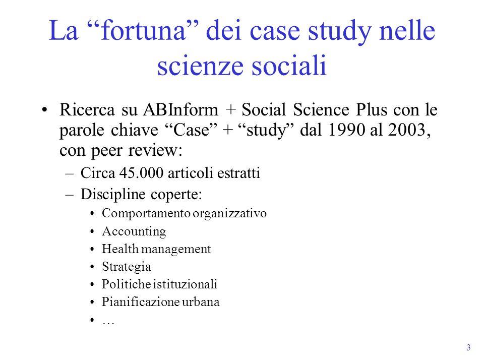 La fortuna dei case study nelle scienze sociali