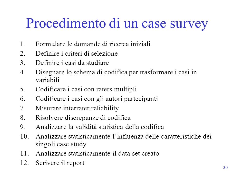 Procedimento di un case survey