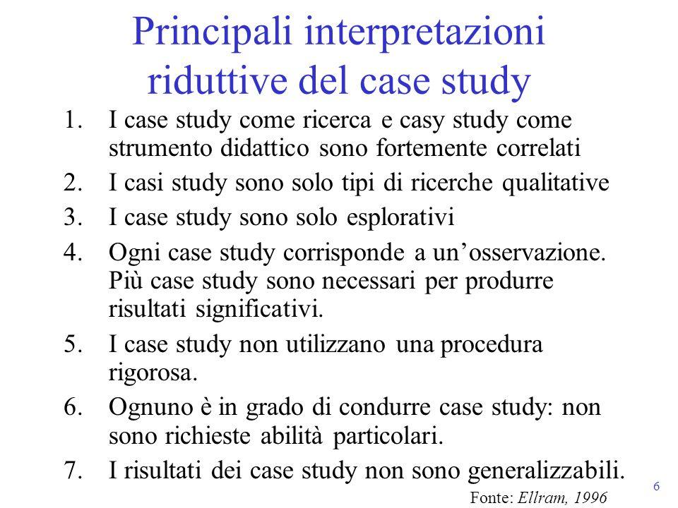 Principali interpretazioni riduttive del case study