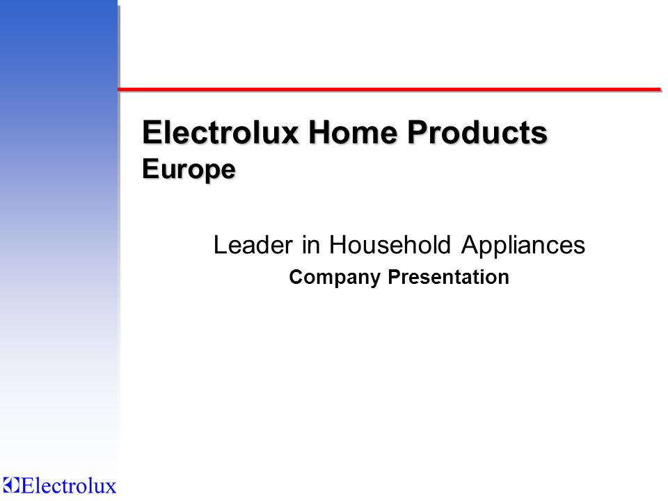 Electrolux Home Products Europe