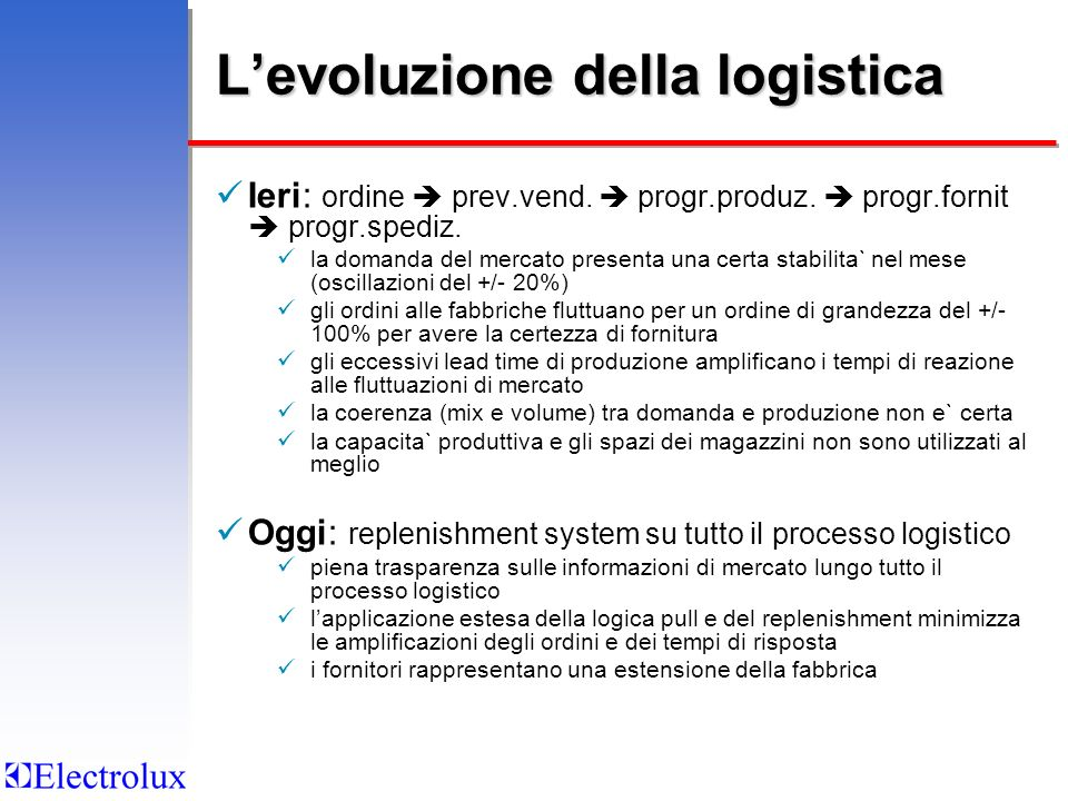 L'evoluzione della logistica