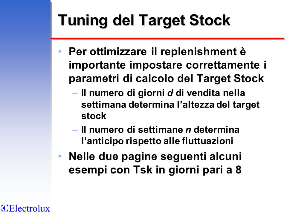 Tuning del Target Stock