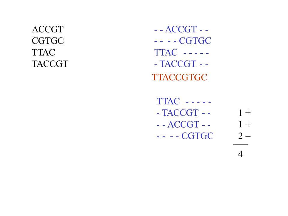 ACCGT CGTGC. TTAC. TACCGT. - - ACCGT - - - - - - CGTGC. TTAC - - - - - - TACCGT - - TTACCGTGC.