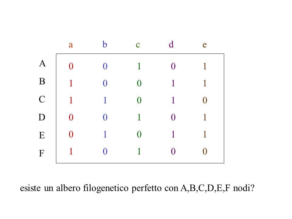 a b c d e A 1 B C D E F esiste un albero filogenetico perfetto con A,B,C,D,E,F nodi