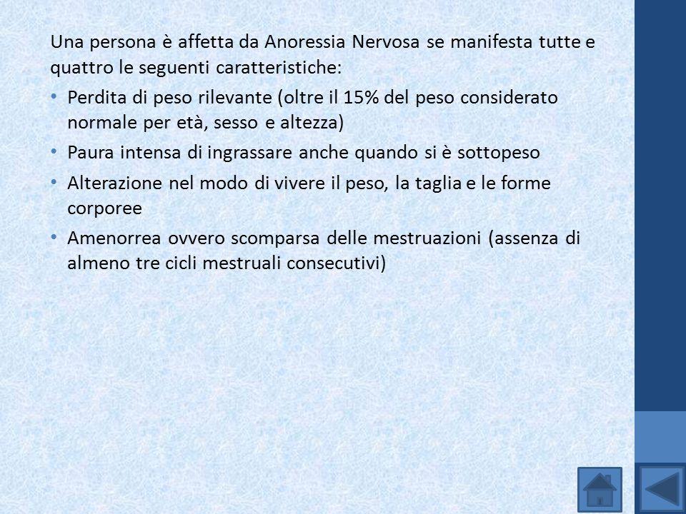 Una persona è affetta da Anoressia Nervosa se manifesta tutte e quattro le seguenti caratteristiche: