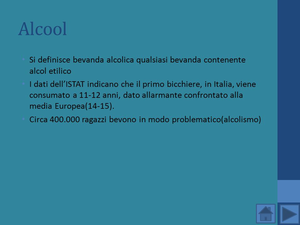 Alcool Si definisce bevanda alcolica qualsiasi bevanda contenente alcol etilico.