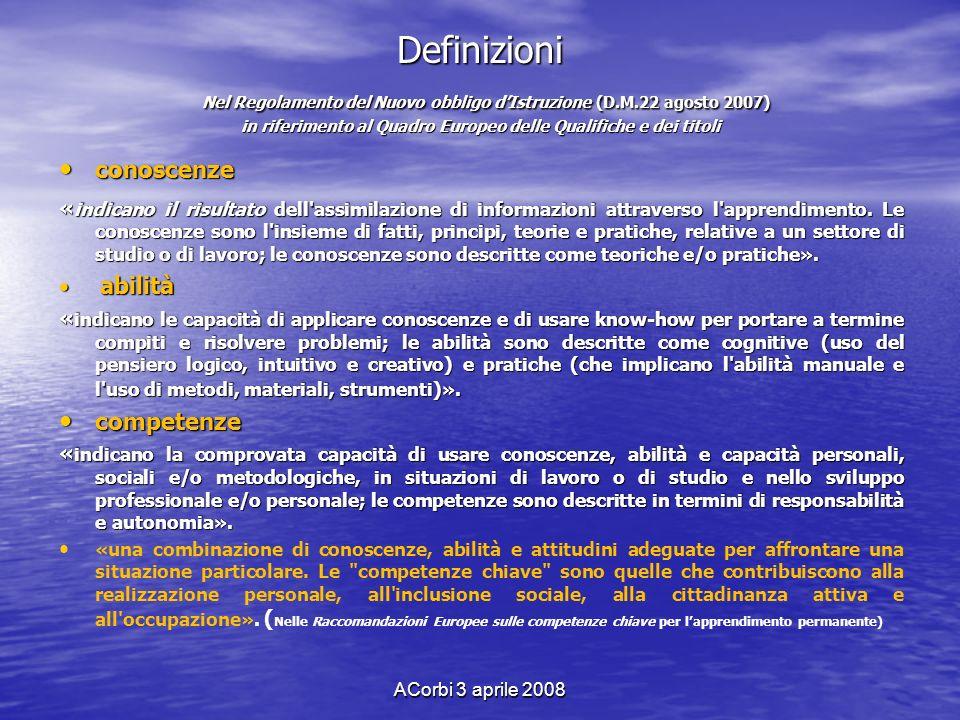 Definizioni Nel Regolamento del Nuovo obbligo d'Istruzione (D. M