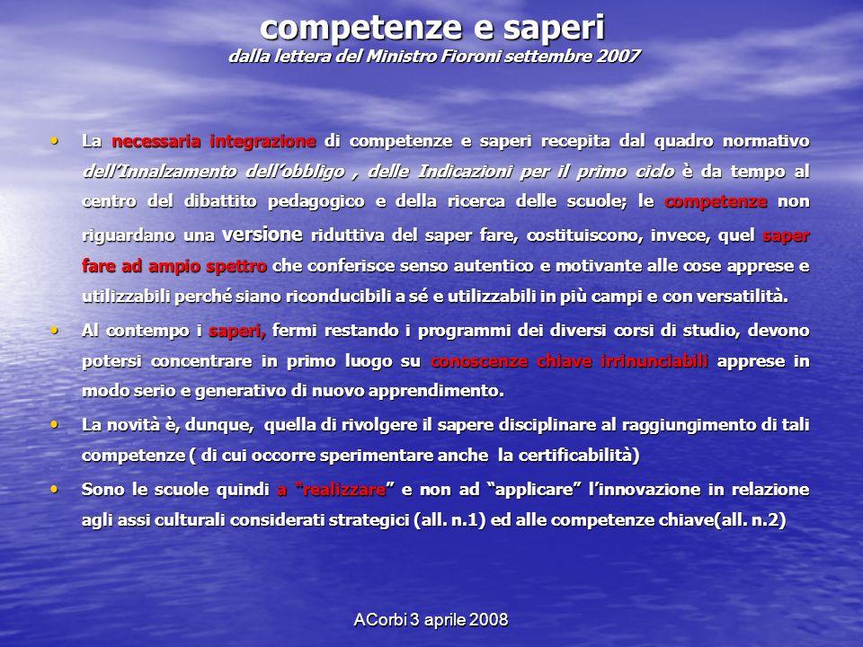 competenze e saperi dalla lettera del Ministro Fioroni settembre 2007