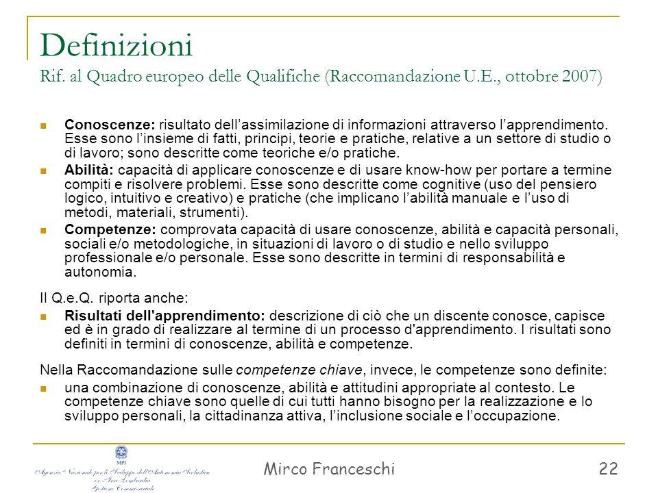 Definizioni Rif. al Quadro europeo delle Qualifiche (Raccomandazione U