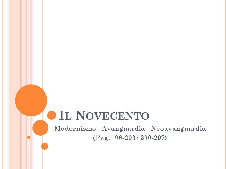 Modernismo – Avanguardia – Neoavanguardia (Pag. 196-203 / 290-297)