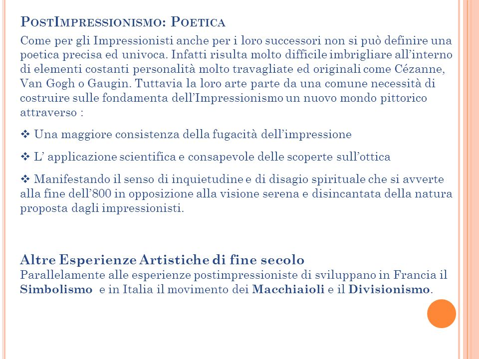 PostImpressionismo: Poetica