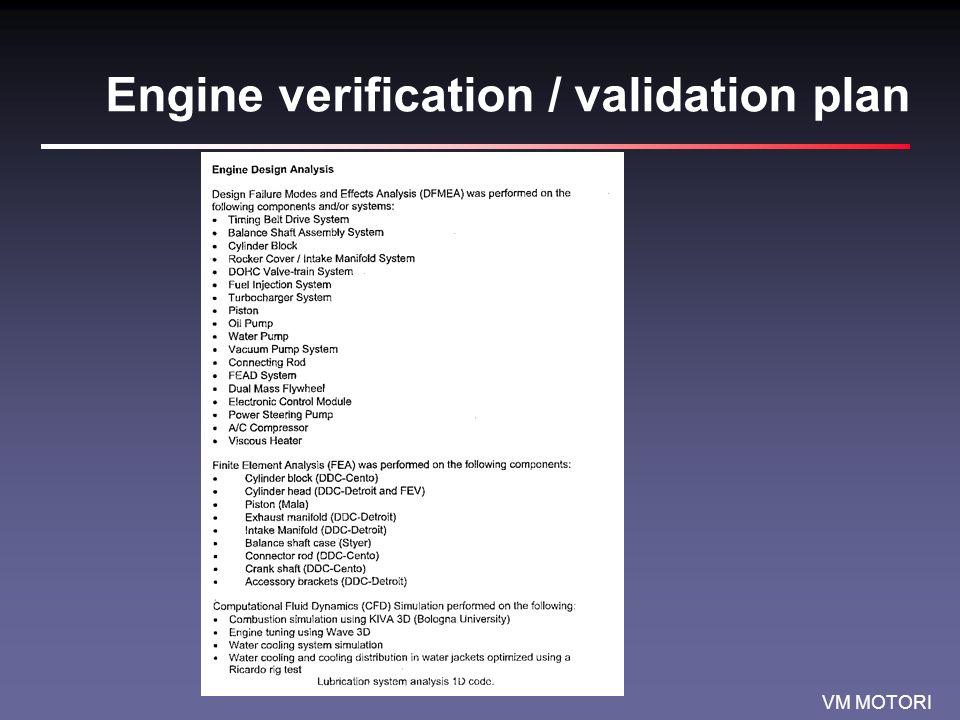 Engine verification / validation plan