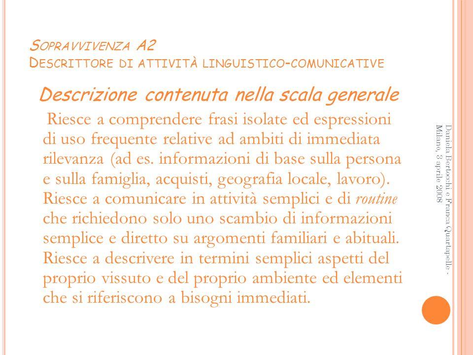 Sopravvivenza A2 Descrittore di attività linguistico-comunicative