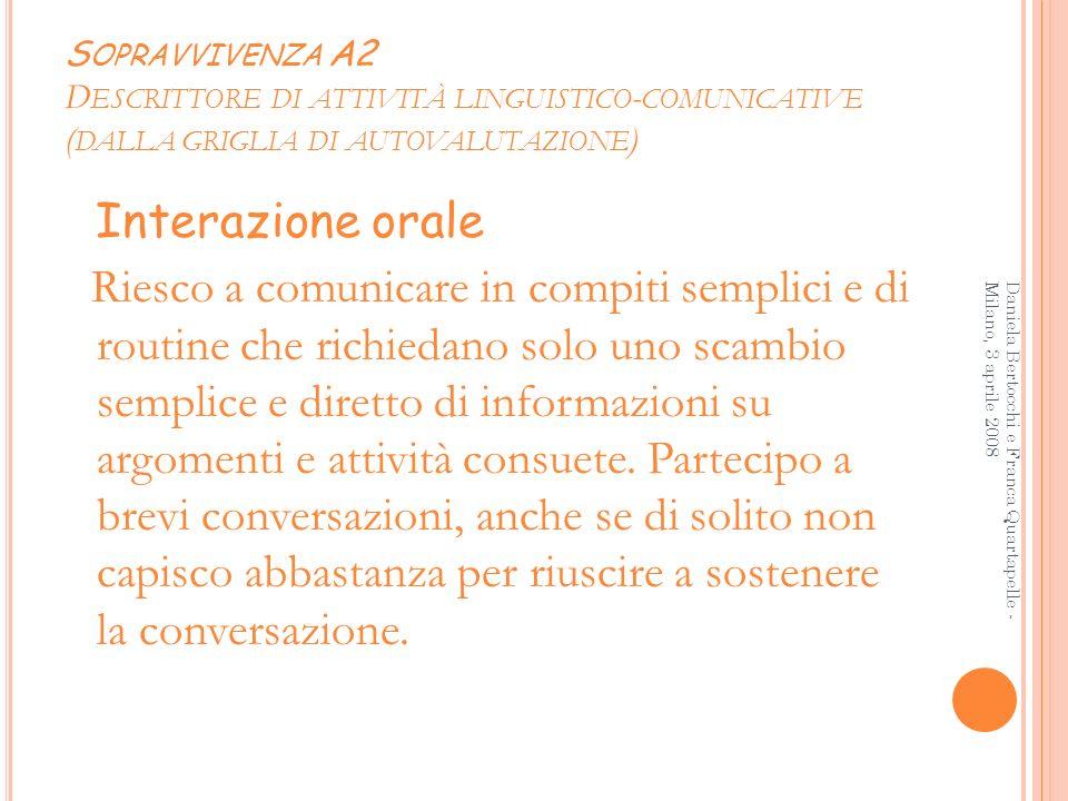 Sopravvivenza A2 Descrittore di attività linguistico-comunicative (dalla griglia di autovalutazione)