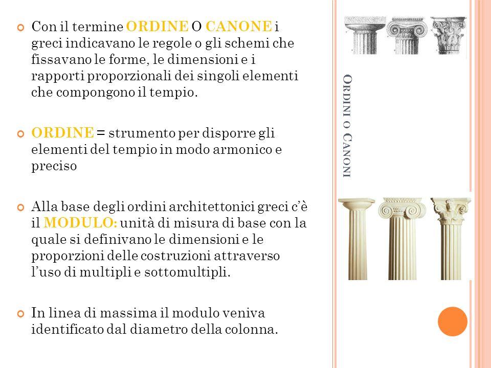 Con il termine ORDINE O CANONE i greci indicavano le regole o gli schemi che fissavano le forme, le dimensioni e i rapporti proporzionali dei singoli elementi che compongono il tempio.