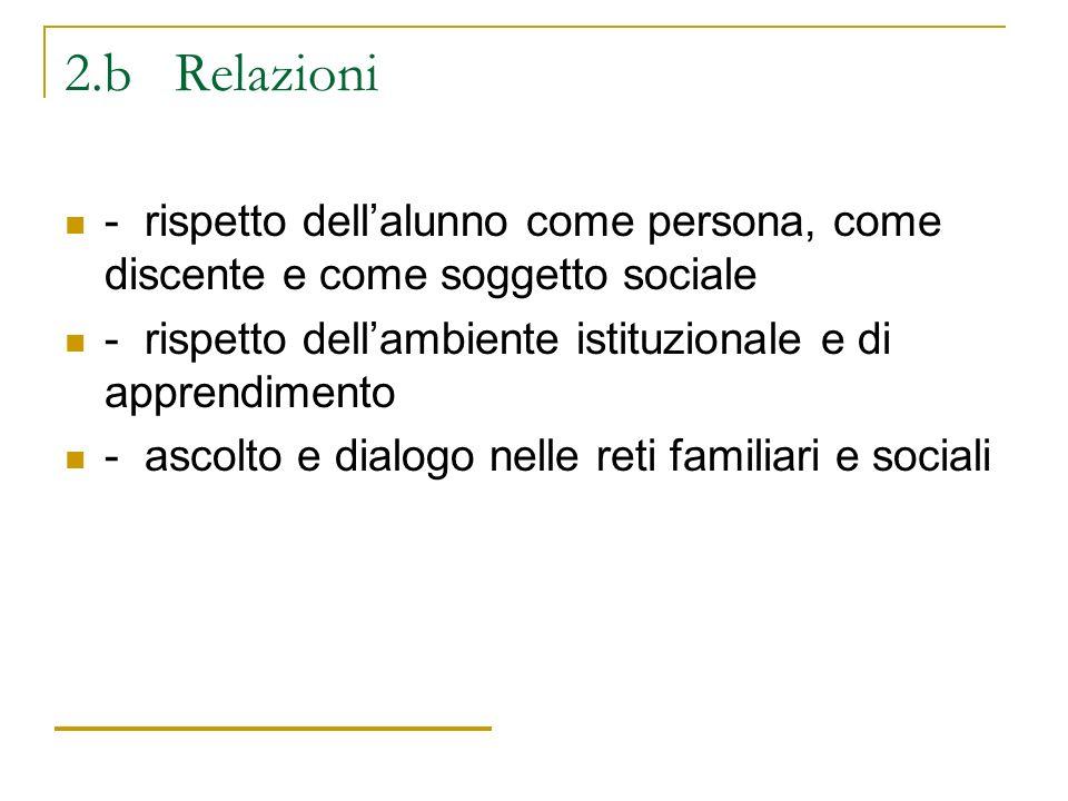 2.b Relazioni - rispetto dell'alunno come persona, come discente e come soggetto sociale.