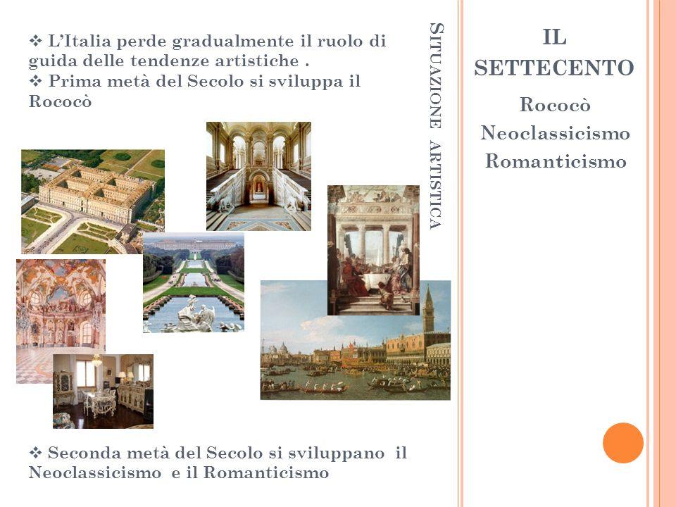 il settecento Rococò Neoclassicismo Situazione ARTISTICA Romanticismo