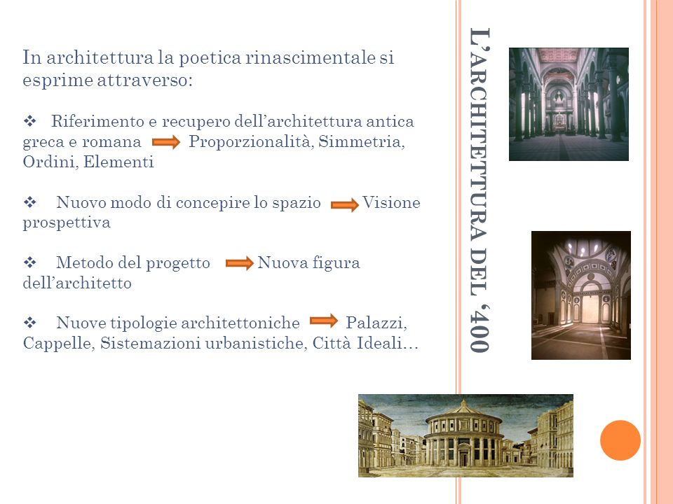 In architettura la poetica rinascimentale si esprime attraverso: