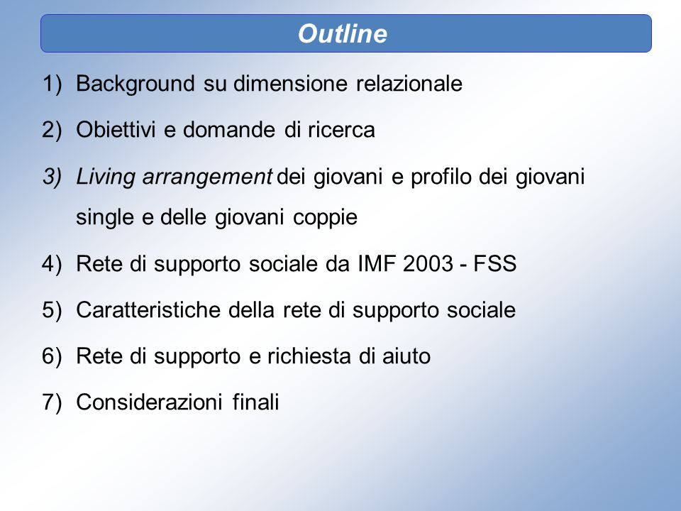 Outline Background su dimensione relazionale