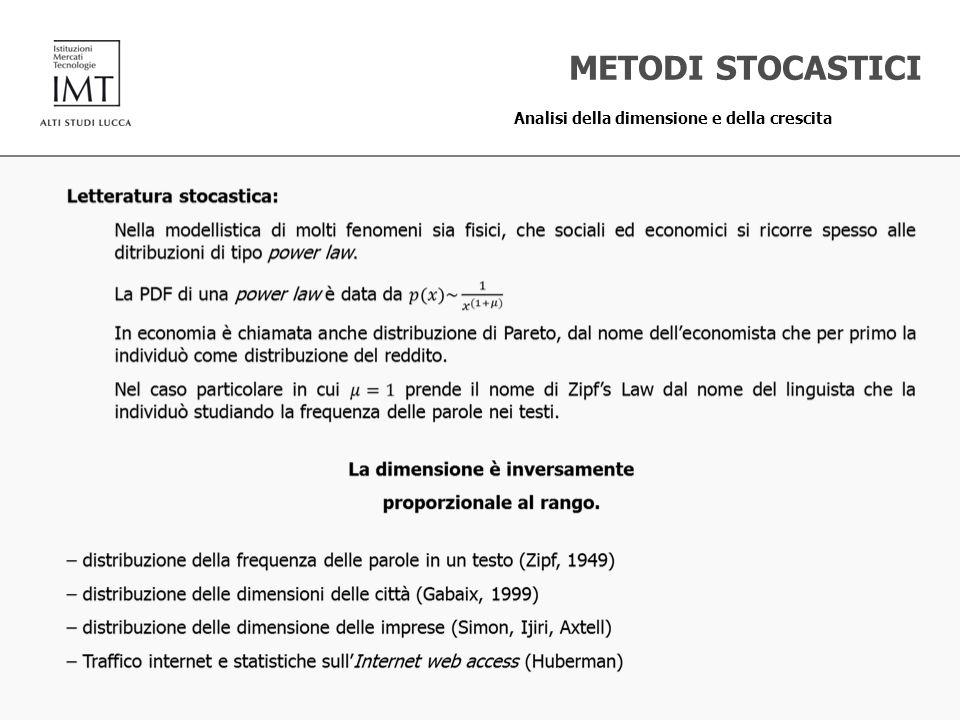 METODI STOCASTICI Analisi della dimensione e della crescita
