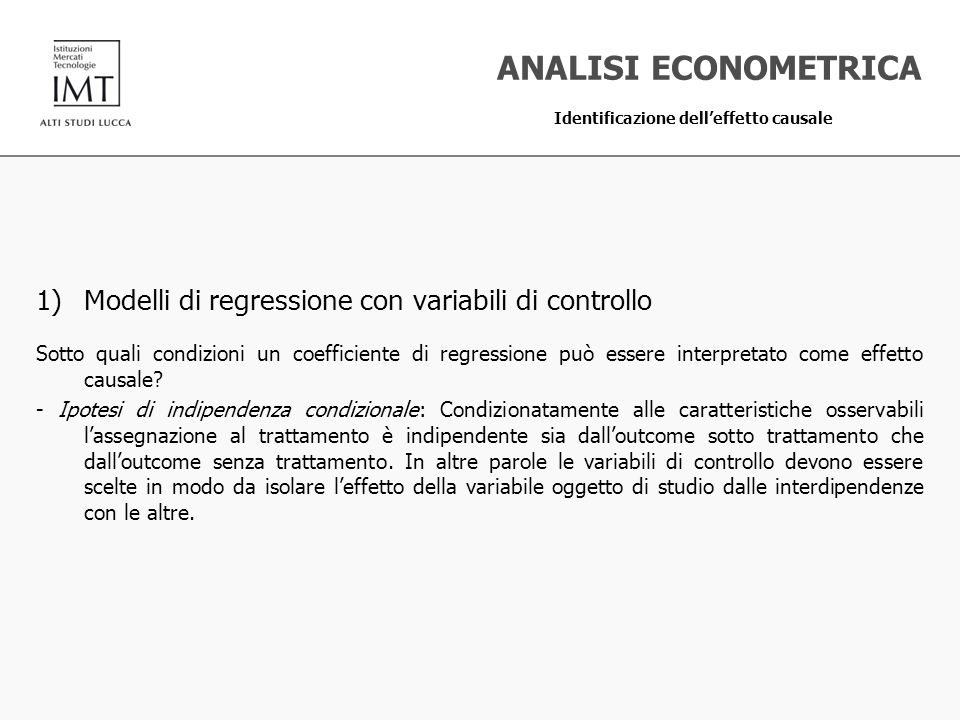 ANALISI ECONOMETRICA Modelli di regressione con variabili di controllo